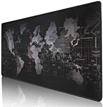 """Kriture Gaming Mouse Pad Extended Mouse Map Mat (World Map 31.5""""x11.8""""inch,3mm),Nonslip Base, Thick, Comfy, Waterproof and Foldable Mat for Desktop, Computer, Laptop, Keyboard, Consoles, Black"""
