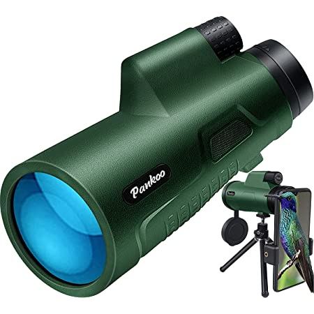 Pankoo 12X50 Monoculars for Adults High Power Monocular Telescope for Wildlife Bird Watching Hunting Camping Travel Secenery with Smartphone Holder & Tripod