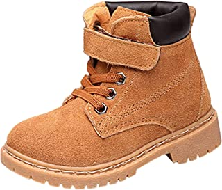 WUIWUIYU Boys Girls Suede Lace-Up Round Toe Combat Hiking Trekking Outdoors School Ankle Boots