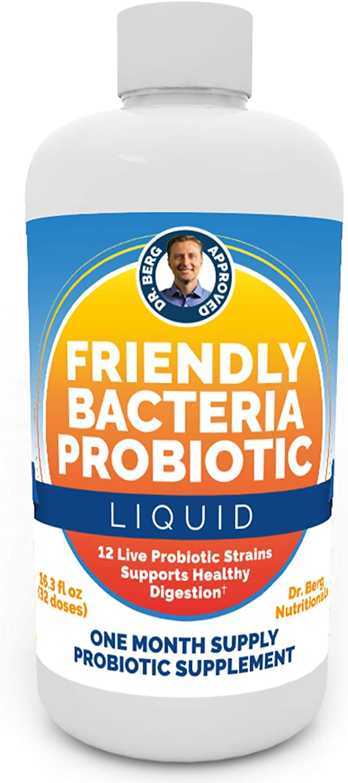 Dr. Berg's Friendly Probiotic Liquid Supplement Drink Mix w/ 12 Live Probiotics Strains & Lactobacillus Acidophilus - Digestive Health, Immune System & Gut Support for Men Women & Kids -1 Month Supply