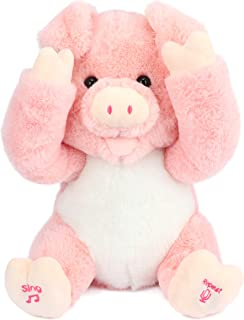 Cuteoy Peek A Boo Piggy Interactive Repeats What You Say Plush Pig Toy Musical Singing Talking Stuffed Animal Adorable Ele...