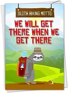 NobleWorks - Sloth Hiking - Cute Belated Happy Birthday Greeting Notecard with Envelope C7234BEG