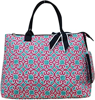 Ngil Quilted Cotton Extra Large Overnight Travel School Tote Bag (Geo Turquoise Pink)
