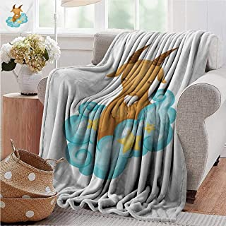 PearlRolan Printed Blanket,Zodiac Capricorn,Astrology Themed Cartoon Goat with Horns in The Clouds,Pale Brown Pale Blue Yellow,300GSM,Super Soft and Warm,Durable Throw Blanket 35