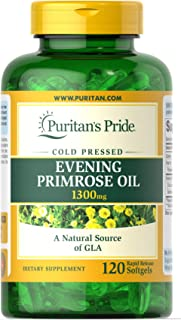 Puritans Pride Evening Primrose Oil 1300 mg with Gla Softgels, 120 Count