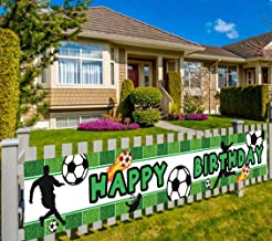 Colormoon Large Soccer Happy Birthday Banner, Soccer Birthday Party Supplies Decorations, Sports Themed Party Decorations (9.8 x 1.6 feet)