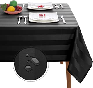 Hiasan Black Striped Rectangle Tablecloth - Stain Resistant and Spillproof Banquet Washable Polyester Fabric Oblong Table Cloth for 6 ft Dining Tables, 54 x 80 Inch