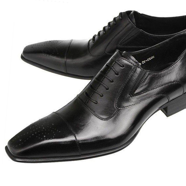 [ルシウス] 本革 ストレートチップ ビジネスシューズ メンズ ブローグ 内羽根 革靴 ロング ノーズ レースアップ シューズ 営業 紳士靴 ヒモ靴 ビジネス 紳士靴 結婚式 新郎 ドレスシューズ