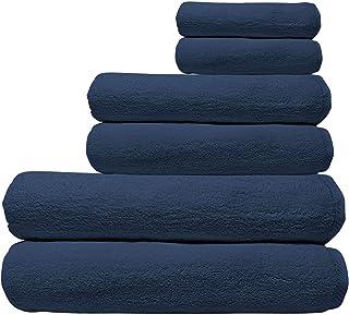 La' Marvel Hand, Bath & Pool Performance Towels Bundle Towel Set, 20/2 100% Cotton, Navy Blue - 6 Pieces Towel Set