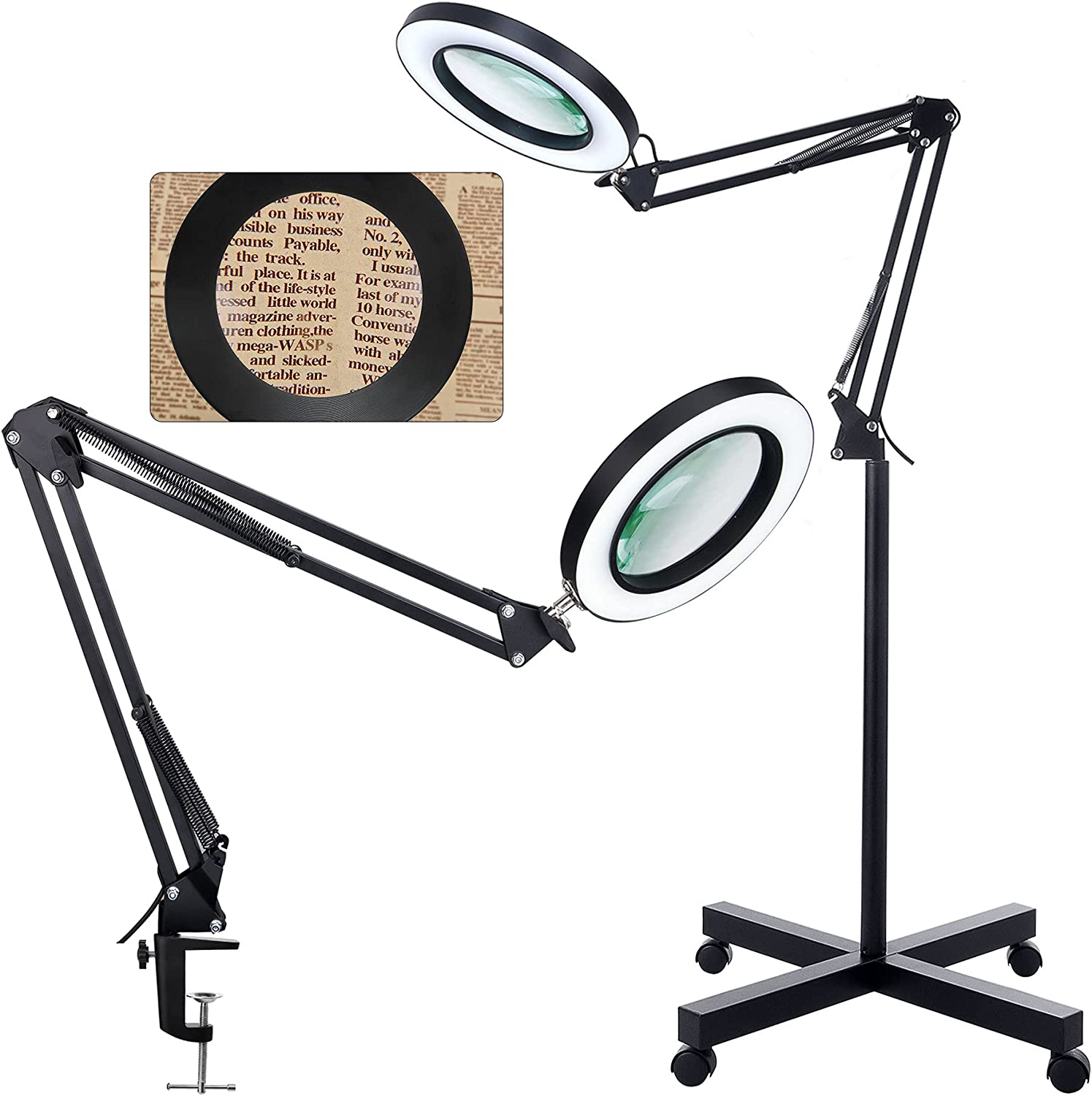 Magnifying Floor Lamp with Clamp and HITTI Max 68% OFF Rolling Very popular Base 4 Wheel