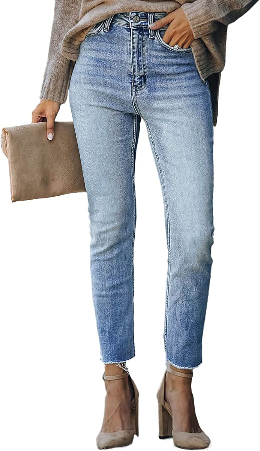 Asvivid Classic High Rise Ankle Skinny Jeans for Women Stretch Ripped Denim Pants Slim Fit Distressed Bootcut Jean