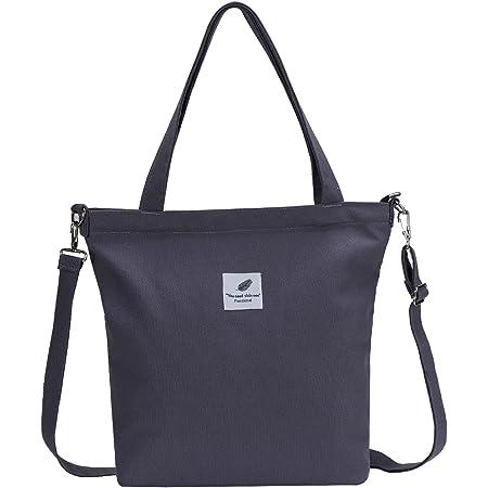 Funtlend Damen Handtasche Groß Canvas Tasche Damen Umhängetasche Henkeltasche Damen für Mädchen Schule Uni-Upgraded-40 * 35 * 11 (B-Grau)