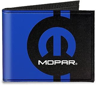 Buckle-Down Canvas Bi-fold Wallet-Mopar Logo/stripe2 Black/Blue