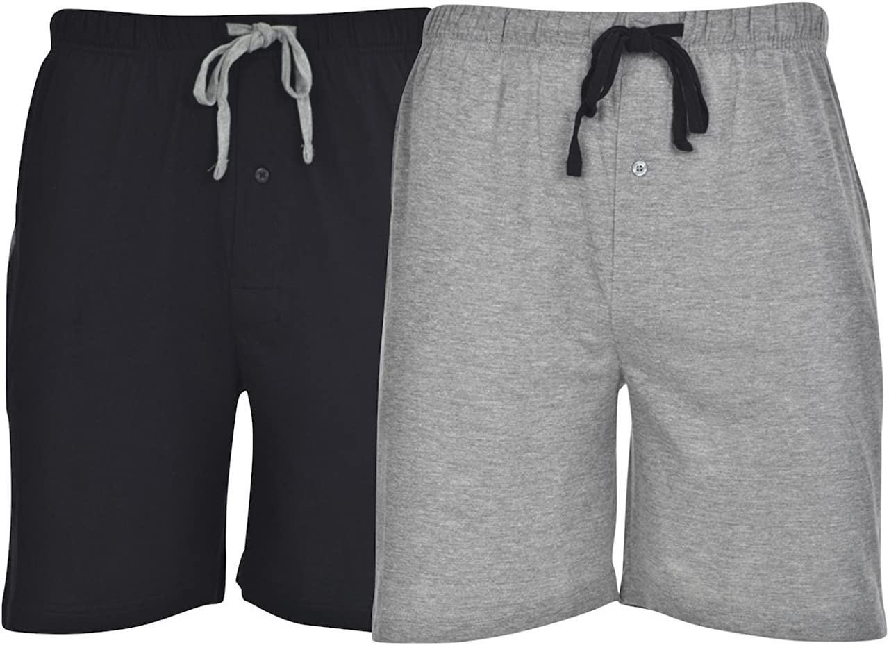 Hanes Men's 2-Pack Cotton Lounge Drawstring Knit Shorts with Waistband & Pockets