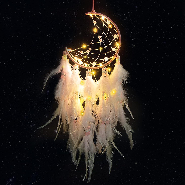 Gr8ware Atrapasueños LED, Atrapasueños de plumas, Atrapasueños de luna tejido a mano, Decoración bohemia para buenos sueños Colgar en la pared Decoración del hogar Adornos Artesanías