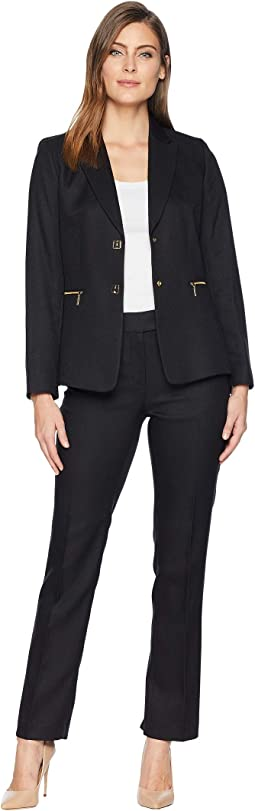 Notch Collar Two-Button Jacket Pants Suit