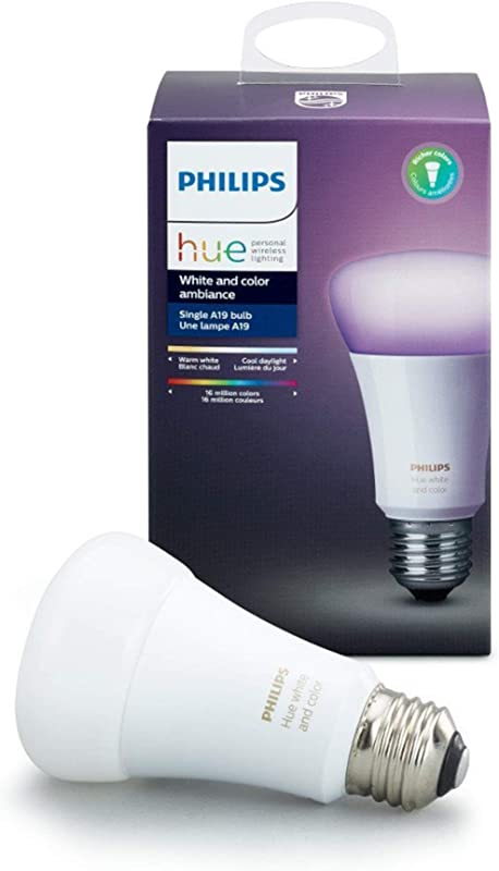 Philips 464487 Hue White And Color Ambiance A19 Smart LED Light Bulb Multicolor 3rd Generation