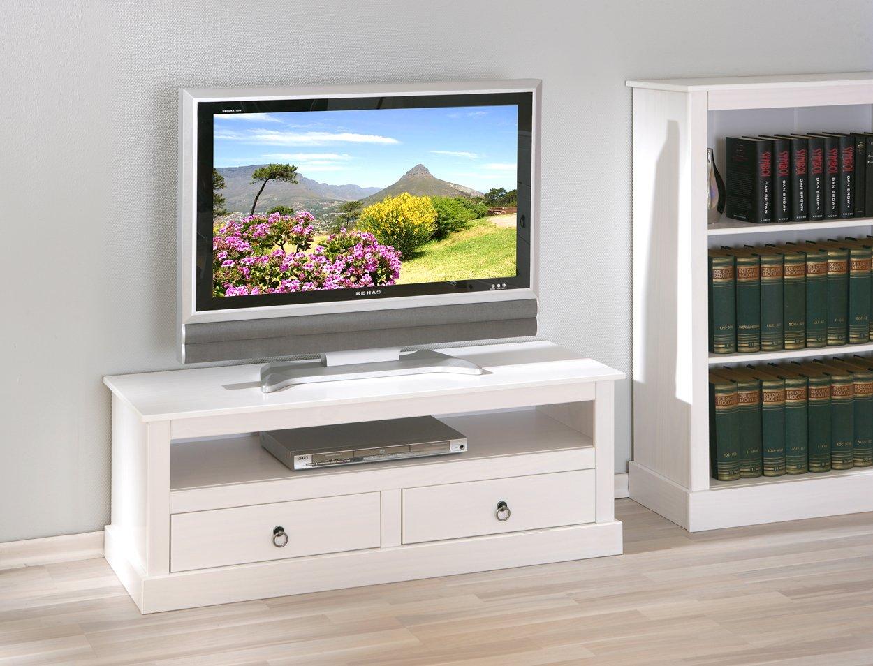 Mueble para televisor, color blanco, diseño rústico de pino maciza: Amazon.es: Hogar