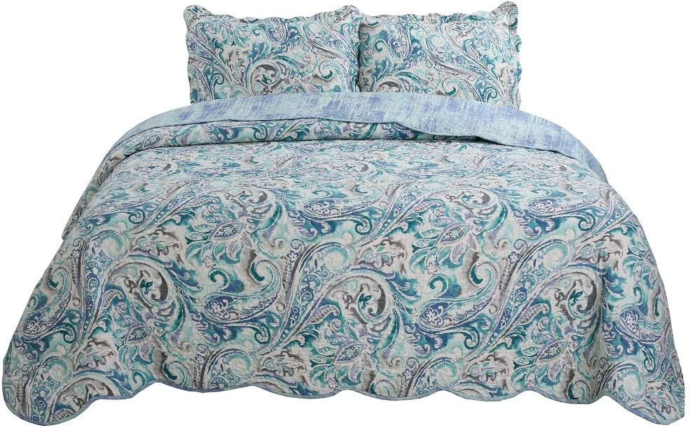 vivinna home New Shipping Free textile Bedspread Coverlet Set Green Paisley Max 60% OFF Oversi