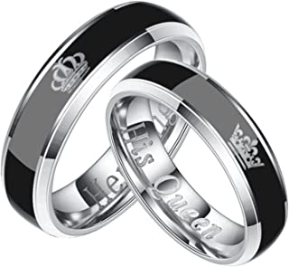 AMDXD Jewellery 6MM Couples Rings Stainless Steel Silver/Black Her King His Queen Ring
