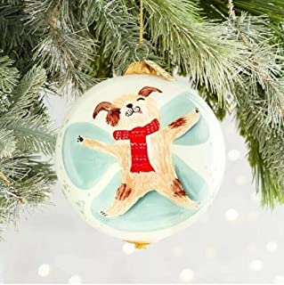 Pier 1 Imports Li Bien SNOWDAY Dog Christmas Ornament 2018 Hand Painted Glass