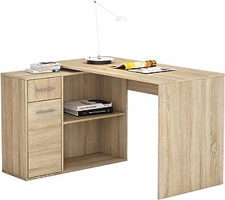 Bureau d'angle Isotta Table avec Meuble de Rangement intégré et modulable avec 2 étagères 1 Porte et 1 tiroir, en mélaminé...