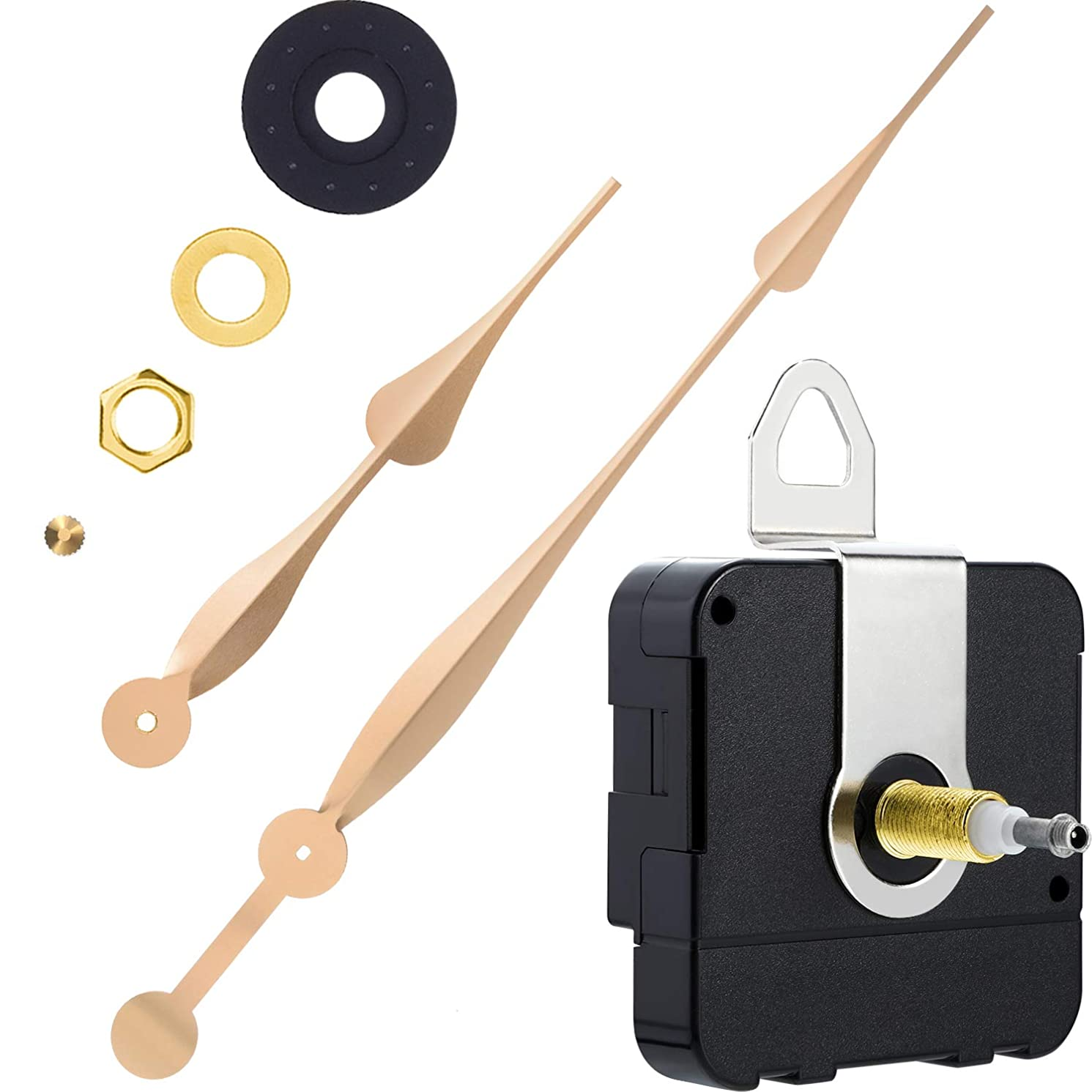 High Torque Quartz Clock Movement Clock Replacement Mechanism with 12 Inch Long Spade Hands for DIY Clock (Gold, Shaft Length 1-1/5 inches/ 31 mm Shaft Length)