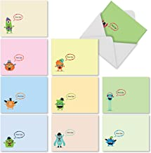 10 'Hipster Monsters' Note Cards w/Envelopes, Assorted Blank Greeting Cards, Cute Cartoon Cards, Colorful All Occasion Cards for Thank You, Stationery Note Cards 4 x 5.12 inch M3974