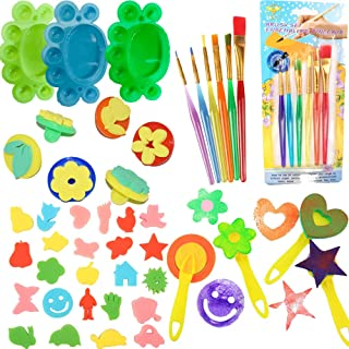 Fycooler 44PCS Kids Painting Tool Kits,Toddler Early Learning Paint Set,including Painting Sponge Brushes Tray Palettes,Dr...