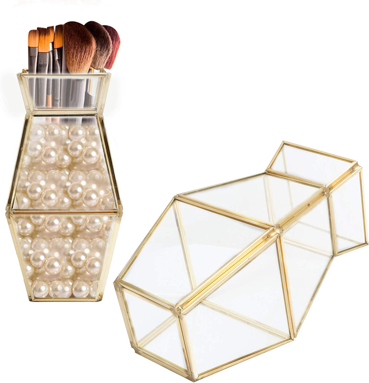 Glass Storage Container Embedded Copper Strip Vase Flower Pot Plant Holder Garden Polygonal Column