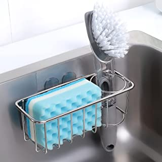 Adhesive Sponge Holder + Brush Holder, 3-in-1 Sink Caddy, SUS304 Stainless Steel Rust Proof Water Proof, No Drilling
