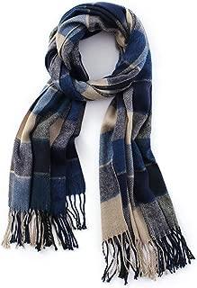 Lusm Women's Big Grid Scarf Winter Fashion Lattice Warm Cashmere Feeling Large Shawl Wraps Oversized Blanket