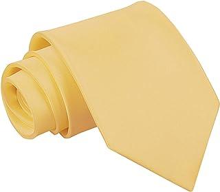 DQT Men Plain Glossy Satin Polyester Wedding Classic Neck Tie