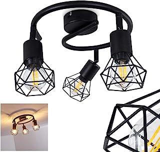 Lámpara de techo Baripada de metal negro, 3 focos de techo giratorios de estilo retro industrial, ideal para sala de estar vintage, para 3 bombillas E14 máx. 40 W, compatible con bombillas LED