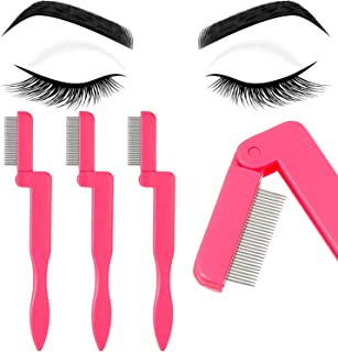 4 Pieces Eyelash Comb Foldable Eyelash Comb Curlers Stainless Steel Teeth Eyebrow Comb (Pink)