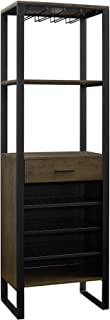 Dorel Living Soto Bar Cabinet with Wine Storage, Ash Veneer with Gunmetal Finish