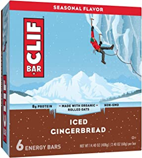 CLIF Bar Iced Gingerbread Energy Bars, made with organic rolled oats 8.8oz, pack of 1
