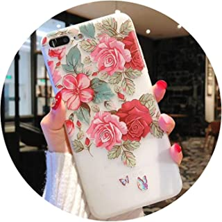 Flower Phone Case for iPhone XR Case for iPhone Xs Max 5 5S SE 6 6S 7 8 Plus Back Cover 3D Relief Floral Cases Capa,Style 802,for iPhone 6Plus 6SP