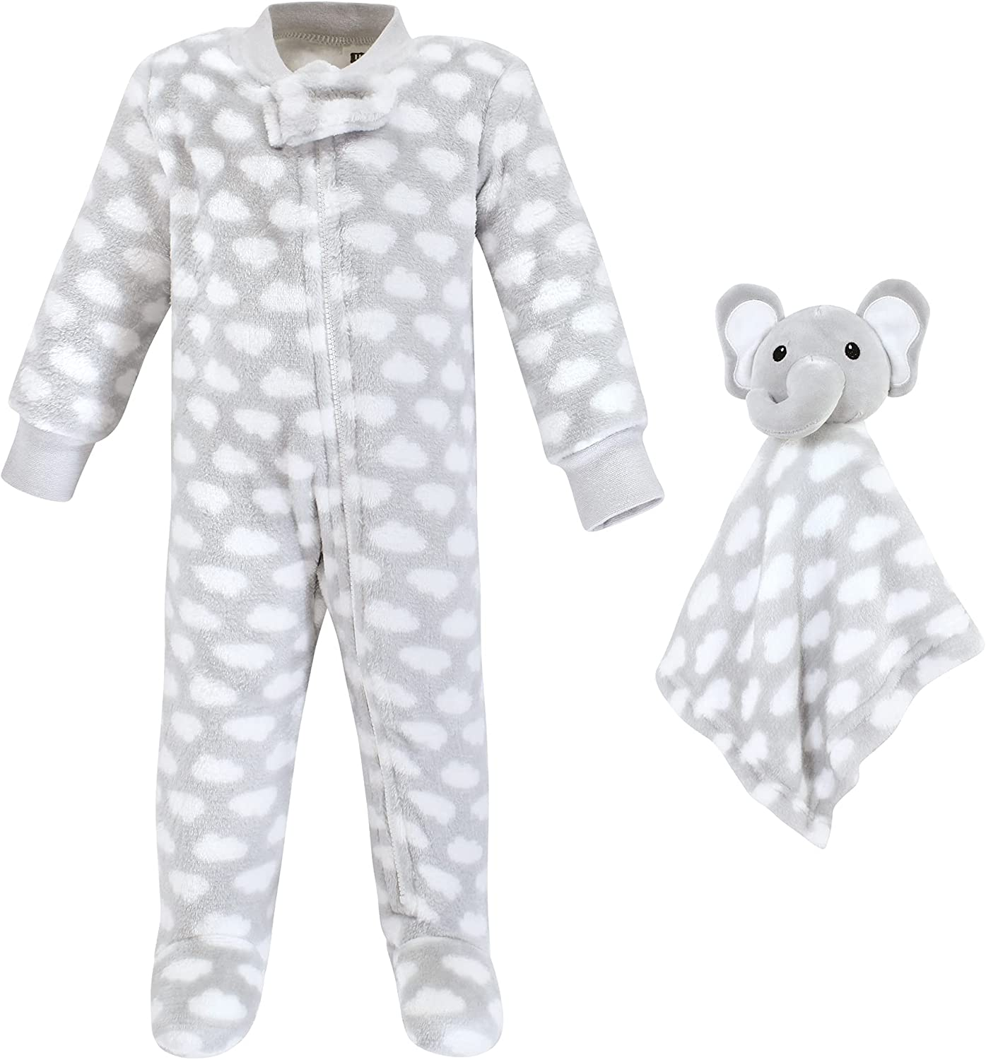 Hudson Baby Unisex Baby Flannel Plush Sleep and Play and Security Toy, Elephant Cloud, 6-9 Months