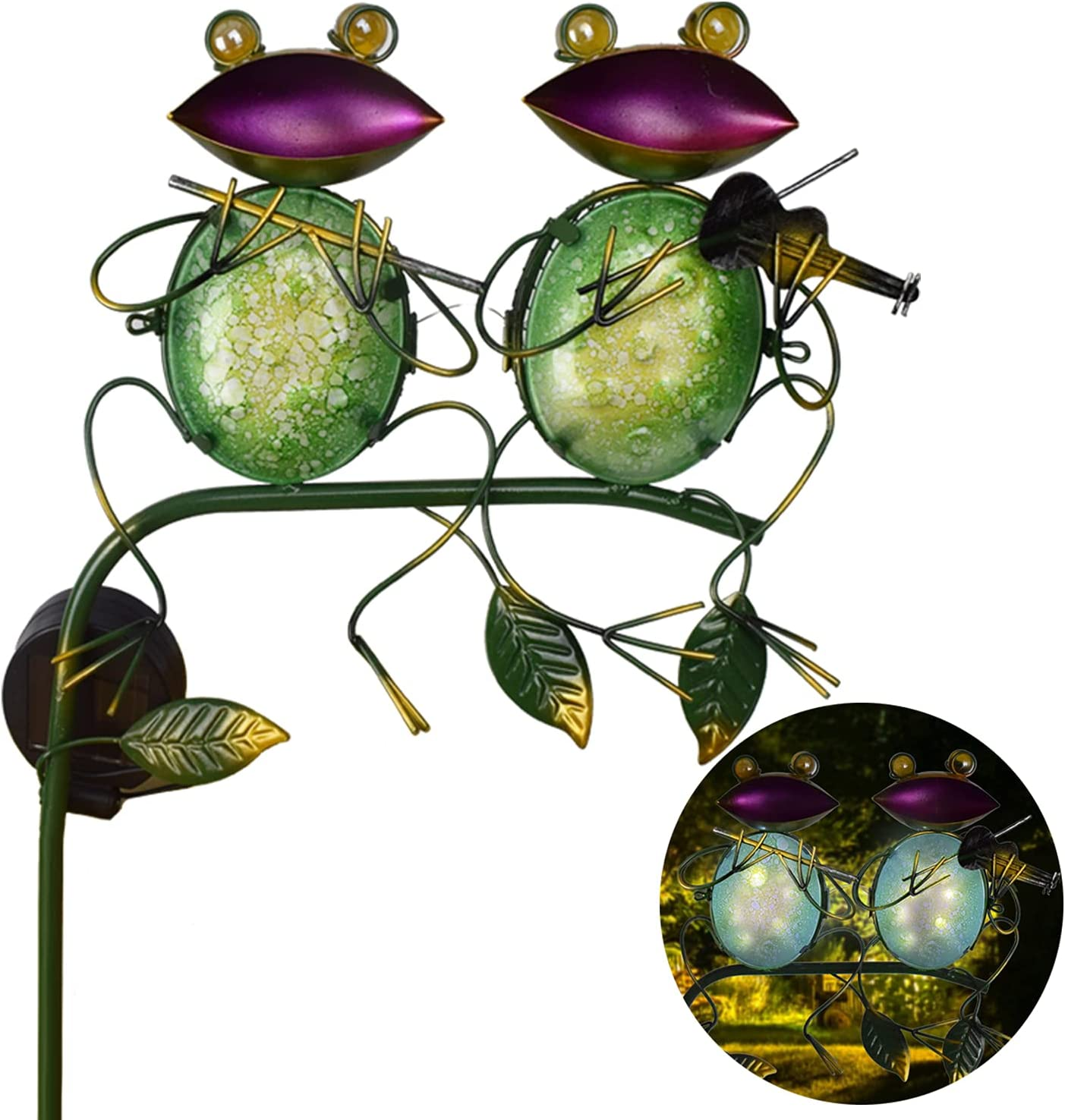 DREAMSOUL Metal Sitting Frog Garden Light Topics on TV Solar with Classic Decorations