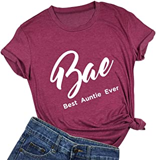 licson Bae Best Auntie Ever T-Shirt Women Funny Best Effing Aunt Ever Shirts Short Sleeves Top Tee