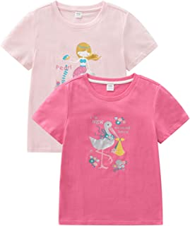 CECORC Graphic T Shirts for Kids, Cute Girls Short Sleeve Tees, 2-3-4-5-Pack,Size 5-10