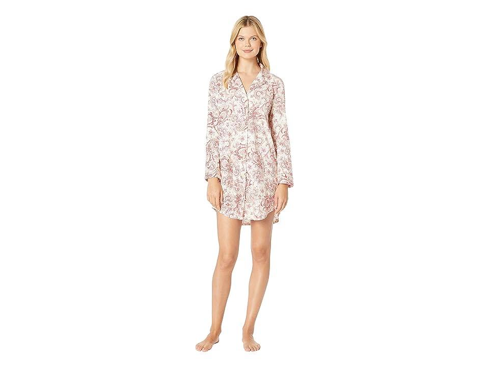 LAUREN Ralph Lauren Classic Knit Long Sleeve Notch Collar Sleepshirt (Red Cream Paisley Print) Women