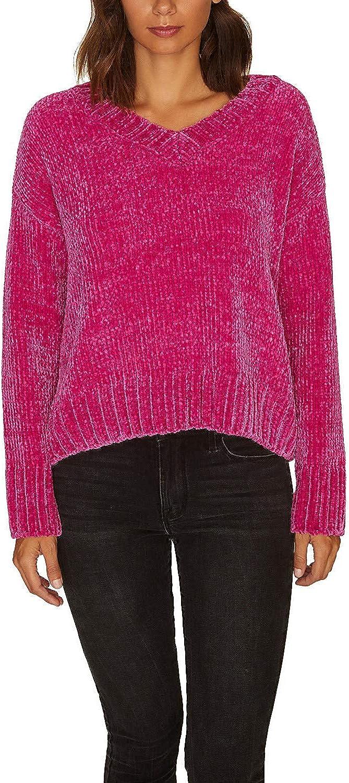 Sanctuary Chenille V-Neck Pullover Sweater Dark Pink XL
