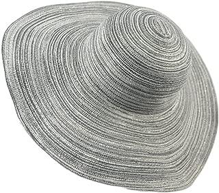 Beach Hat Foldable Women's Hat Visor Linen Cotton Yarn Sweet Elegant Big Straw Hat (Color : Silver, Size : M (56-58cm))