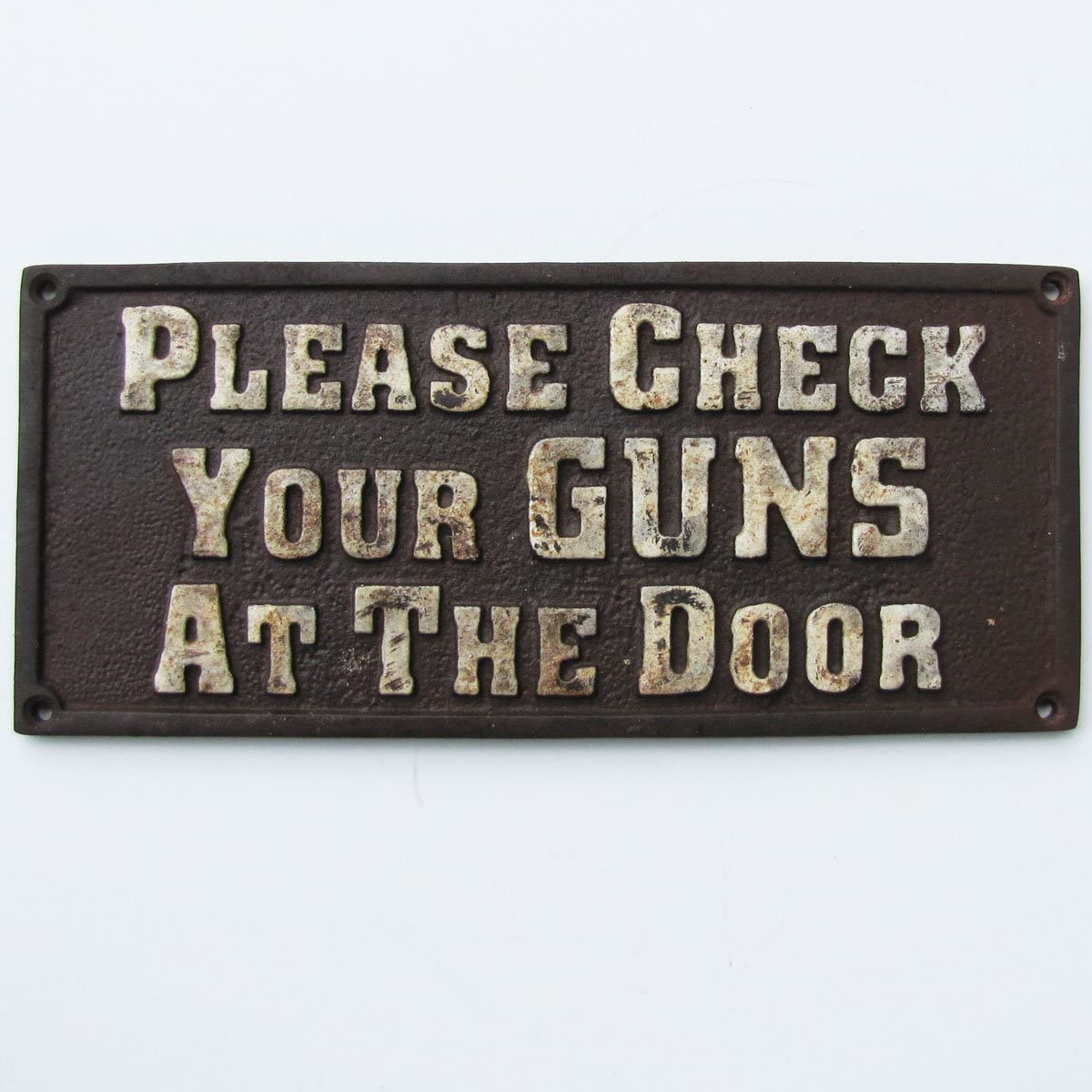 TG,LLC Old West Hotel Saloon Cast Iron Sign Please Check Your Guns at The Door Plaque