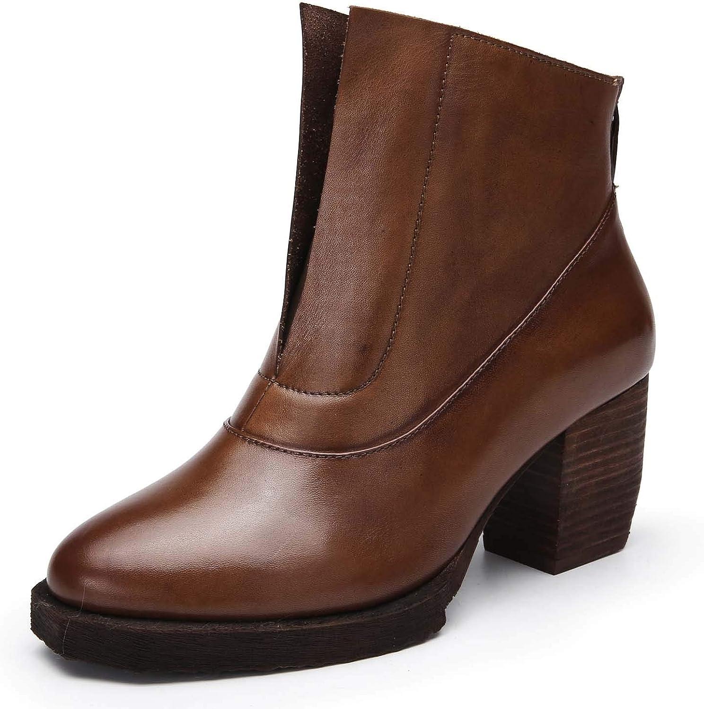 Kvinnliga läderskor för tillfälliga skor, europeiska europeiska europeiska och amerikanska stilar, enkla Martin stövlar Retro med ankle stövlar  40% rabatt