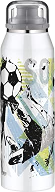 alfi IsoBottle Football Thermos Flask for Children 500 ml Stainless Steel Insulated Bottle Leak-Proof Water Bottle 5677.204.0