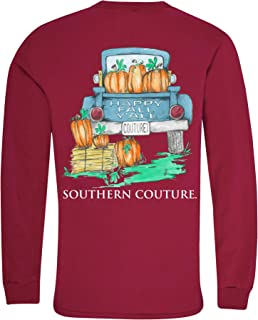 Southern Couture Hapy Fall Y'all Pumpkins Cardinal Red Cotton Fabric Long Sleeve T-Shirt