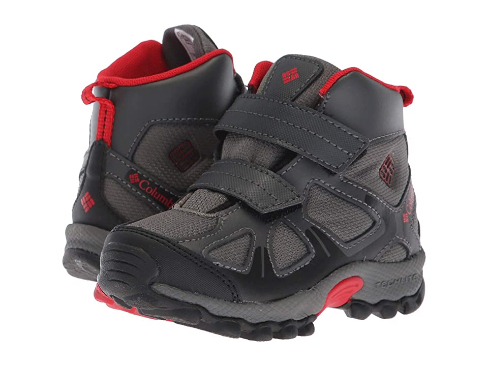 Columbia Kids PeakFreaktm Xcrsn Mid Waterproof (Toddler/Little Kid) (City Grey/Bright Red) Boys Shoes
